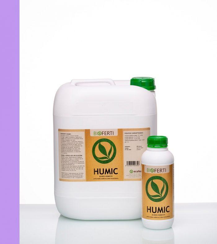 BIOFERTI HUMIC son ácidos húmicos y fúlvicos líquidos de origen vegetal, utilizables en agricultura ecológica que mejoran las propiedades físicas, químicas y biológicas del suelo