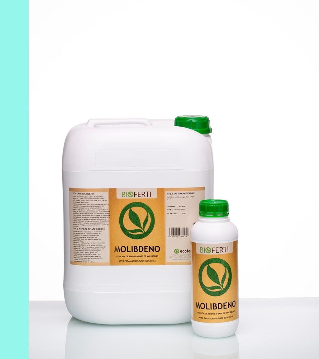 BIOFERTI MOLIBDENO es un biol-abono de Molibdeno al 3% . El Mo participa en el sistema redox de la enzima nitrato-reductasa, clave en la fijación de nitrógeno por la planta. En leguminosas forma parte de la nitrogenasa, enzima que realiza el proceso de fijación biológica del nitrógeno atmosférico.