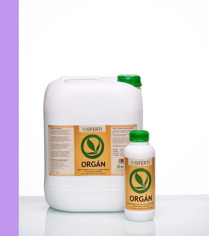 BIOFERTI ORGÁN es un abono NK líquido hidrosoluble de origen vegetal, que favorece la asimilación de microelementos y nutrientes necesarios en el desarrollo radicular y aéreo de las plantas.