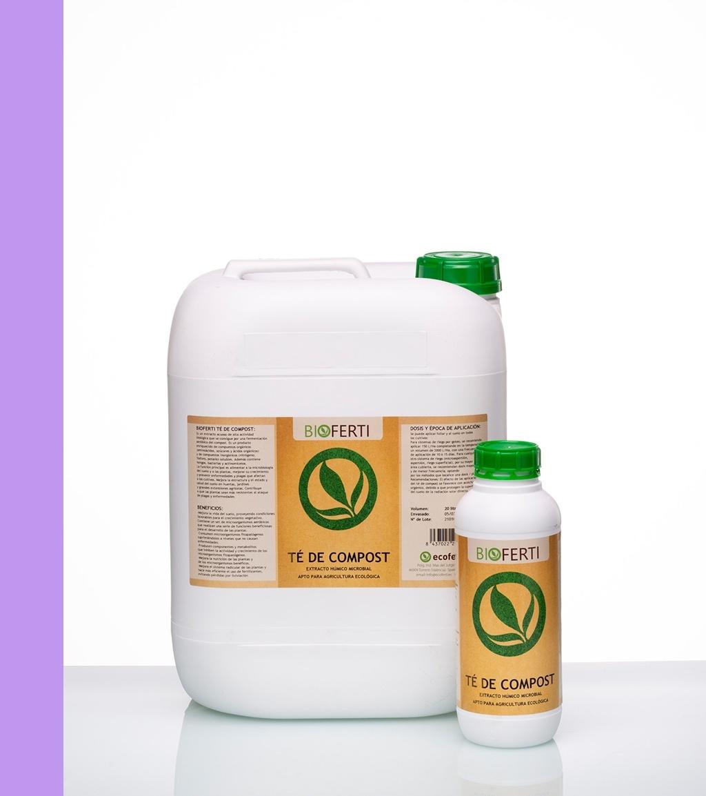 BIOFERTI TÉ DE COMPOST es un extracto acuoso de alta actividad biológica que se consigue por una fermentación aeróbica del vermicompost. Es un producto enriquecido de compuestos orgánicos (aminoácidos, azúcares y ácidos orgánicos) y de compuestos inorgánicos solubles (nitrógeno, fósforo, potasio, etc.).